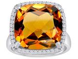Star K™ Large Cushion Cut Simulated Imperial Yellow Topaz Halo Ring style: 310367