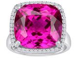 Star K™ Large Cushion Cut Created Pink Sapphire Halo Ring style: 310371