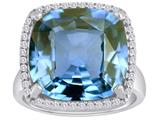 Star K™ Large Cushion Cut Simulated Aquamarine Halo Ring style: 310373