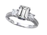 Star K™ 8x6mm Emerald Cut White Topaz Ring style: 310540