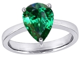 Star K™ Large 11x8mm Pear Shape Solitaire Ring with Simulated Emerald style: 310552