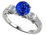 Star K™ Classic 3 Stone Ring With Round 7mm Created Sapphire style: 310616