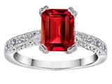 Star K™ Solitaire Ring with Emerald Cut Created Ruby style: 310628