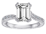 Star K™ Solitaire Ring with Emerald Cut Genuine White Topaz style: 310634