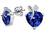 Original Star K™ 7mm Heart Shape Simulated Sapphire Heart Earrings style: 310646