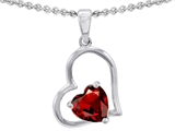 Star K™ 7mm Heart Shape Simulated Garnet Pendant Necklace style: 310762