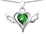 Star K™ Wings Of Love Pendant Necklace with Heart 7mm Simulated Emerald style: 310769