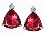 Star K™ 7mm Trillion Cut Created Ruby Earrings Studs style: 310780