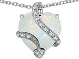 Star K™ Large 15mm Heart Shape White Created Opal and Cubic Zirconia Love Pendant Necklace style: 310804