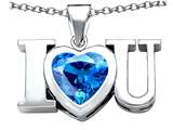 Star K™ 8mm Heart Shape Simulated BlueTopaz I Love You Heart Pendant Necklace style: 310819