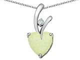 Star K™ 8mm Heart Shape Simulated Opal Pendant Necklace style: 310820