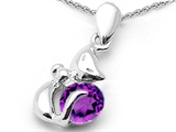 Star K™ Round Simulated Amethyst Cat Pendant Necklace style: 310837