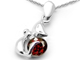 Star K™ Round Simulated Garnet Cat Pendant Necklace style: 310845