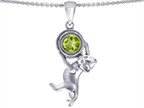 Star K™ Cat Lover Pendant Necklace with August Birthstone Simulated Peridot style: 310858