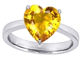Star K™ Large 10mm Heart Shape Solitaire Ring with Simulated Yellow Sapphire style: 310993
