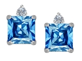 Star K™ 7mm Square Cut Simulated Blue Topaz Earrings Studs style: 311091