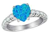 Star K™ 8mm Heart Shape Simulated Blue Opal Ring style: 311232