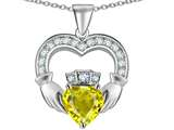 Star K™ Hands Holding 8mm Crown Heart Claddagh Pendant Necklace with Simulated Citrine style: 311459