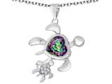 Star K™ Good Luck Mother and Child Turtle Pendant Necklace with Heart Shape Rainbow Mystic Quartz style: 311483