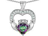 Star K™ Hands Holding 8mm Crown Heart Claddagh Pendant Necklace with Rainbow Mystic Quartz style: 311503