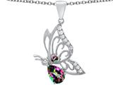 Star K™ Butterfly Pendant Necklace With 9x6mm Pear Shape Rainbow Mystic Quartz style: 311506