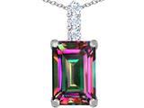 Original Star K™ Large 14x10mm Emerald Cut Rainbow Mystic Quartz Pendant style: 311513