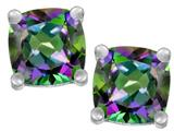 Star K™ Cushion Cut 7mm Mystic Rainbow Quartz Earrings Studs style: 311514