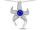 Star K™ Round 6mm Created Sapphire Star Fish Pendant Necklace style: 311766