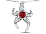 "Star K™ Round 6mm Created Ruby ""Star Fish"" Pendant Necklace style: 311768"