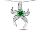 "Star K™ Round 6mm Simulated Emerald ""Star Fish"" Pendant Necklace style: 311772"