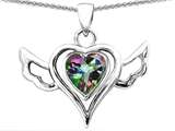 Star K™ Wings Of Love Pendant Necklace with Heart Shape Rainbow Mystic Quartz style: 311846