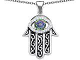 Star K™ Good Luck Hamsa Evil Eye Protection Pendant Necklace with Round Rainbow Mystic Quartz style: 311887