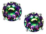 Star K™ 7mm Round Rainbow Mystic Topaz Screw Back Stud Earrings style: 312144