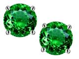 Star K™ Round 7mm Simulated Emerald Screw Back Stud Earrings style: 312148