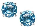 Star K™ 7mm Round Genuine Blue Topaz Screw Back Stud Earrings style: 312153