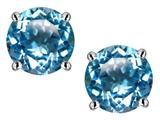 Star K™ 7mm Round Genuine Blue Topaz Screw Back Stud Earrings style: 312153