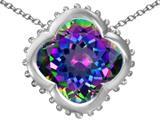Star K™ Large Clover Pendant Necklace with 12mm Clover Cut Rainbow Mystic Quartz style: 312255