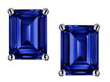 Star K™ Emerald Cut 8x6mm Created Sapphire Earrings Studs style: 312315