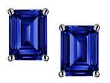 Star K™ Emerald Cut 8x6mm Created Sapphire Earrings Studs style: 312315