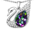 Star K™ Love Swan Pendant Necklace With Pear Shape Rainbow Mystic Quartz style: 312490