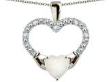 Star K™ Hands Holding Heart Created Opal Claddagh Pendant Necklace style: 312805