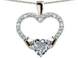 Star K™ Hands Holding Heart Simulated Aquamarine Claddagh Pendant Necklace style: 312820