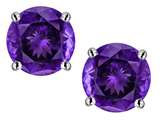 Star K™ Classic Round  6mm Genuine Amethyst  Four Prong Stud Earrings style: 313644