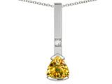 Star K ™ 7mm Trillion Genuine Citrine Bar Pendant Necklace style: 314009
