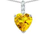Star K ™ 8mm Heart Shaped Genuine Citrine Three Stone Pendant Necklace style: 314032