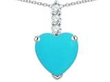 Star K ™ 8mm Heart Shaped Simulated Turquoise Three Stone Pendant Necklace style: 314049