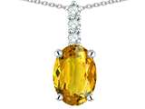Star K ™ 8x6mm Oval Genuine Citrine Three Stone Pendant Necklace style: 314079