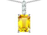 Star K ™ 8x6mm Octagon Emerald Cut Genuine Citrine Three Stone Pendant Necklace style: 314099