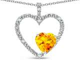 Star K ™ Open Heart Pendant Necklace with 6mm Heart Shaped Genuine Citrine Stone style: 314170