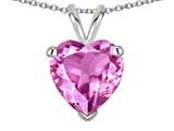 Star K ™ Created Pink Sapphire 8mm Heart Pendant Necklace style: 314655
